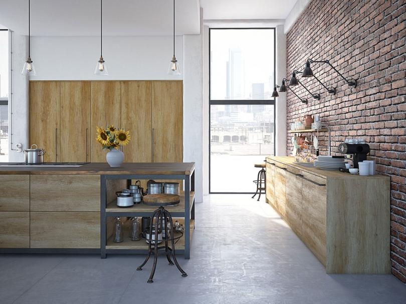 Drewniana kuchnia wklimacie loftu