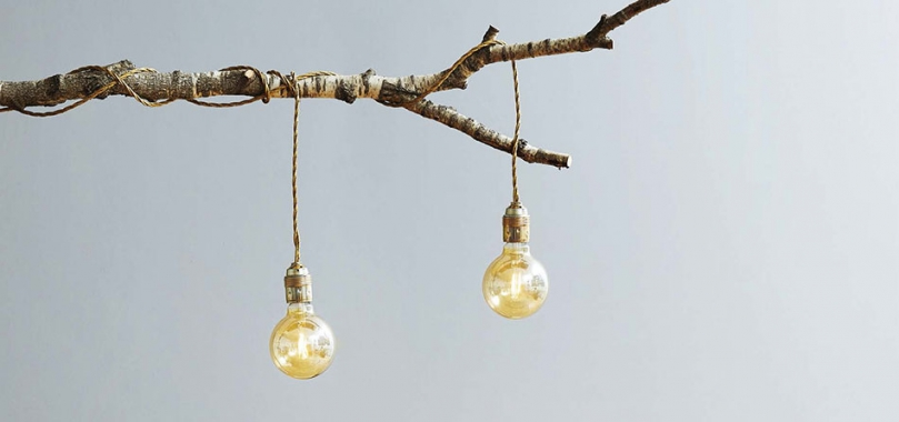 Wykorzystanie gałęzi do zrobienia lampy