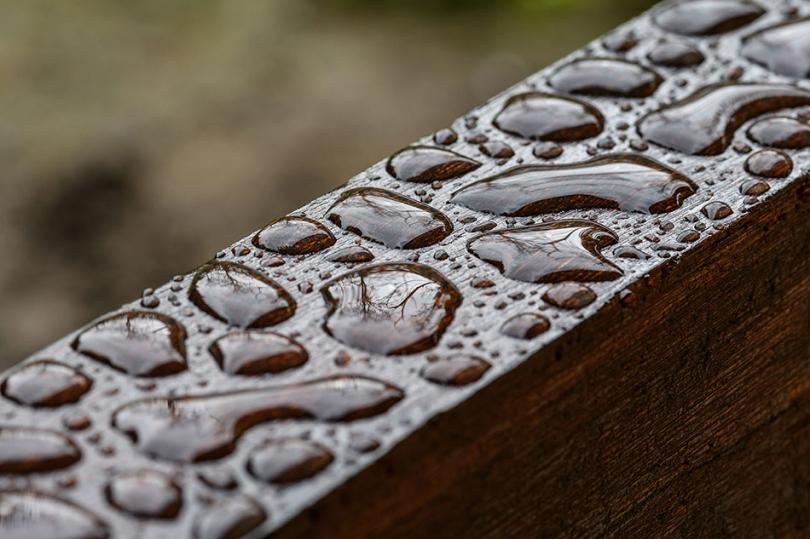 Krople deszczu na drewnie