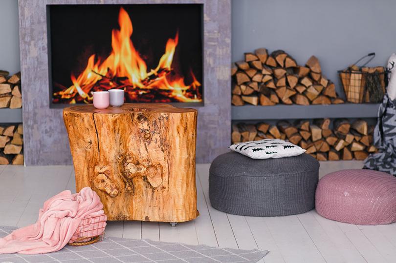 Designerski drewniany taboret