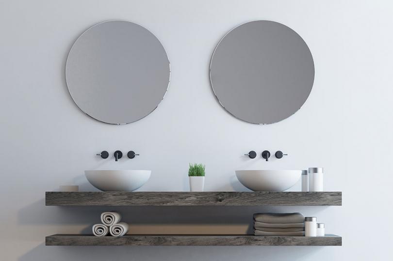 Nowoczesne drewniane półki łazienkowe
